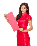 Chinese Woman hold with red banner for calligraphy Royalty Free Stock Images