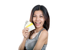 Chinese woman holding multiple credit cards Royalty Free Stock Photos