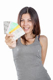 Chinese woman holding multiple credit cards Royalty Free Stock Image