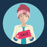 Chinese woman holding a sale sign. Winter collection sale concept. Flat  illustration Royalty Free Stock Photo
