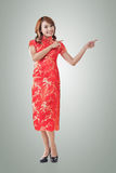 Chinese woman introducing Royalty Free Stock Photo