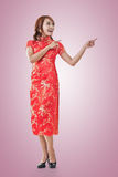 Chinese woman introducing Royalty Free Stock Image