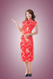 Chinese woman introducing Stock Photo