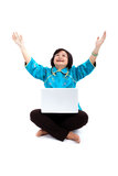 Chinese Woman with laptop,thanking god Stock Images