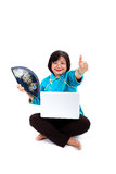 Chinese Woman with laptop, traditional and success Royalty Free Stock Photo