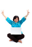 Chinese Woman with laptop, Victory sign Royalty Free Stock Images