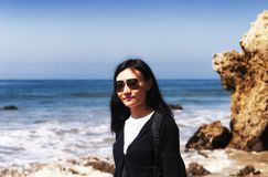 El Matador Beach California Chinese woman royalty free stock photos