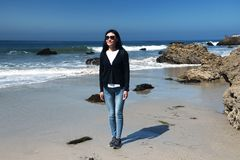 El Matador Beach California Chinese woman royalty free stock images