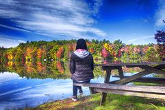 Chinese woman looking at the morning sun in autumn. A chinese woman looking at the fall foliage reflecting in the water while sitting on a picnic table in autumn royalty free stock photography