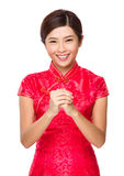 Chinese woman with lunar new year greeting Stock Photo