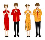 Chinese Woman and Man in Red and Gold Qipao Dress. isolated on White Background. Vector Illustration. Royalty Free Stock Photo