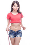 Chinese woman measuring waist royalty free stock image