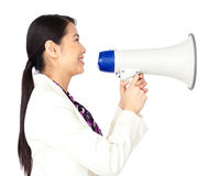 A chinese woman with a megaphone. And a whte background Stock Photos