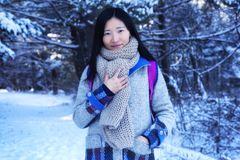 Chinese woman in a new england winter. A chinese woman looking at the camera outside in a wintery scene at white memorial conservation area in Litchfield stock images