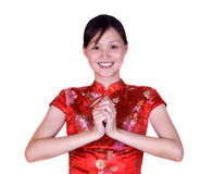 Chinese woman in oriental costume Royalty Free Stock Photo