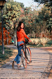 Chinese woman in the park Royalty Free Stock Images
