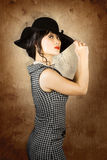 Chinese woman posing with fashionable summer hat Stock Photography