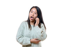 Chinese woman reacting in shock and dismay. Attractive young Chinese woman reacting in shock and dismay standing with her mouth open at news she has just heard royalty free stock photography