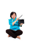 Chinese Woman ready for cinema shooting Royalty Free Stock Photo