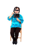 Chinese Woman ready for cinema shooting Royalty Free Stock Image