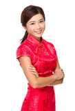 Chinese woman with red cheongsam for lunar new year Royalty Free Stock Photography