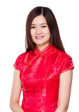 Chinese woman with red dress Stock Images