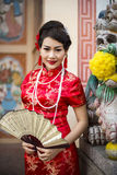 Chinese woman red dress traditional cheongsam Stock Image