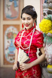 Chinese woman red dress traditional cheongsam Stock Images