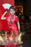 Chinese woman red dress traditional cheongsam Royalty Free Stock Image