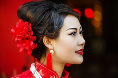 Chinese woman red dress traditional cheongsam Stock Photography
