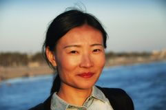 Chinese woman at Santa Monica Pier stock photo