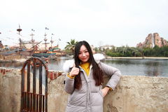 A Chinese woman in Shanghai Disney land Stock Photo
