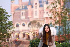 A Chinese woman in Shanghai Disney land Royalty Free Stock Photo