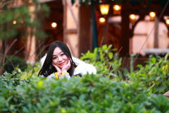 A Chinese woman in Shanghai Disney land Royalty Free Stock Images