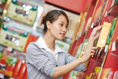 Chinese woman shopping food Stock Images