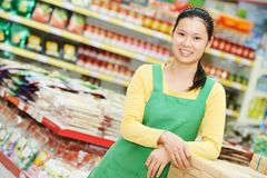 Chinese woman shopping food Royalty Free Stock Photos