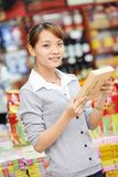 Chinese woman shopping food Stock Photography