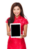 Chinese woman show with blank screen of tablet Stock Photography