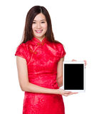Chinese woman show with tablet Stock Image