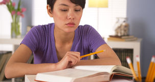 Chinese woman student studying for final exams Stock Photography