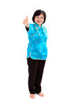 Chinese Woman thumbs up , full body on white backg Royalty Free Stock Photography