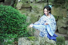 Chinese woman in traditional Blue and white porcelain style Hanfu dress Stock Photography