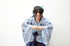 Chinese woman in traditional Blue and white porcelain style Hanfu dress Royalty Free Stock Photos