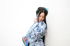 Chinese woman in traditional Blue and white porcelain style Hanfu dress Royalty Free Stock Images