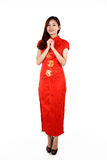 Chinese woman in traditional red Cheongsam Stock Photo