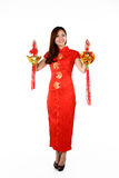 Chinese woman in traditional red Cheongsam Royalty Free Stock Photos