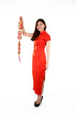 Chinese woman in traditional red Cheongsam Stock Photography