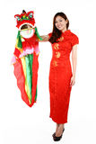 Chinese woman in traditional red Cheongsam Royalty Free Stock Photography