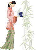 Chinese woman with tray. Beautiful chinese young woman holding a tray with a tea set - vector illustration stock illustration