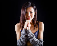 Chinese woman in underwear on black background Royalty Free Stock Photos